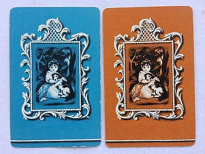 Vintage Swap / Playing Card Pair - Girl With Dog - Silhouettes - Reynolds