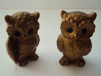 Vintage Hand Decorated Gold Pair Of Owl Figurines
