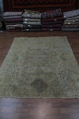 60 Yrs Old Antique Washed Handmade Tabriz Persian Oriental Area Rug Carpet 9X12