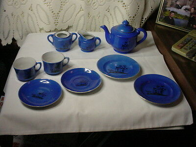9 Pieces Lovely Deep Blue Patterned Children's China Including Teapot & More