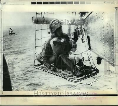 1969 Press Photo Apollo 11 astronaut being lifted to helicopter  - nosp01429