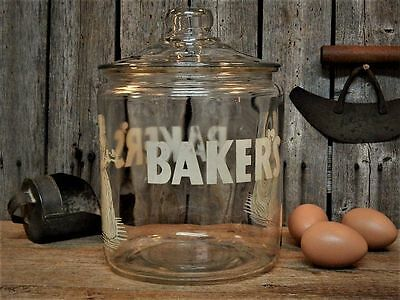 Antique Store Counter Display BAKER'S CHOCOLATE Glass ADVERTISING Candy Jar 1920