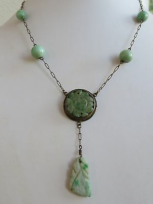 ANTIQUE ART DECO STERLING SILVER  CHINESE CARVED JADE NECKLACE & Drop pendant