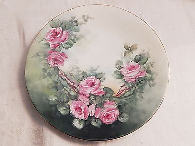ANTIQUE HAND PAINTED LIMOGES PLATE wLOVELY ROSES PATTERN VERY COUNTRY & PRETTY