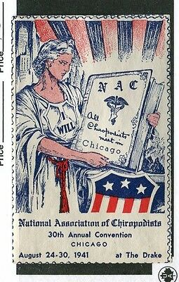Vintage Poster Stamp 1941 Chicago NATIONAL CHIROPODISTS Convention patriotic