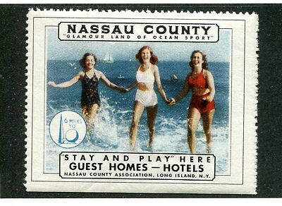 Vintage Poster Stamp Label NASSAU COUNTY Long Island NY Worlds Fair 1939 beach