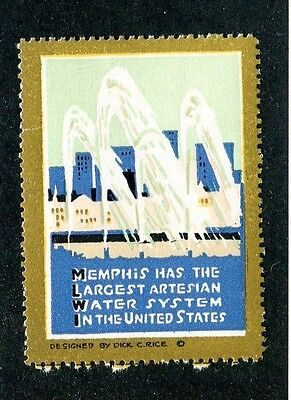 Vintage Poster Stamp Label MEMPHIS TN Largest ARTESIAN WATER SYSTEM in the US