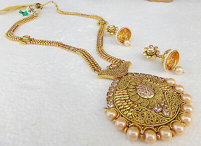 Tradtional Indian Long Jewelry Gold Plated Necklace Earrings Bridal Ranihar Set