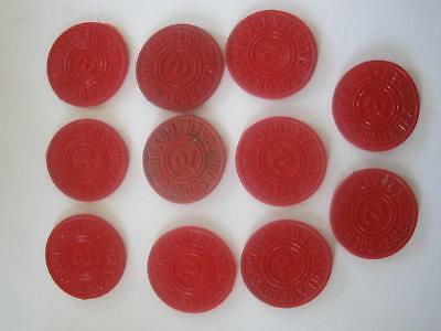 Lot 11 Colorado Tax Tokens Vintage Red Plastic