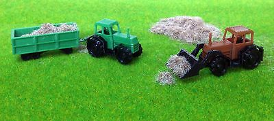 Outland Models Railway Scenery Country Farm Tractor Set with Straw Z Scale 1:220