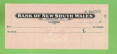 Bank Of New South Wales Check / Cheque 904707, Katoomba Nsw