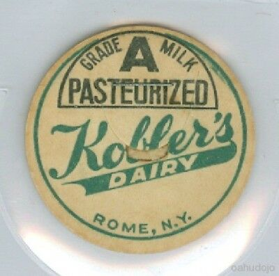 KOBLER'S DAIRY Grade A Pasteurized Milk Cap*Rome, NY 37 mm