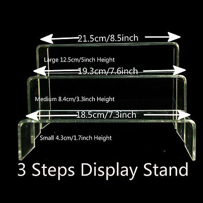 Set Clear Stepwise Shoes Risers Bracelet Ring Jewellery Retail Display Holder