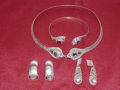 Edwardian Silver Gold And Amethyst Necklace,bracelet & Earring Chinese Influence