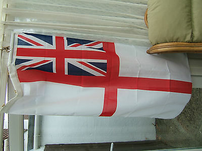 'ROYAL NAVY'.  ' WHITE ENSIGN'.  STITCHED LINEN. (SIZE 3) 69cm x 138cm.........