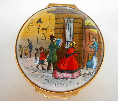 Bilston & Battersea Halcyon Days Enamels Christmas 1978 Enamel Box ~ COLLECTABLE