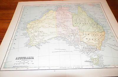 Wonderful Old Vintage Antique Map Australia Exploration Tracks