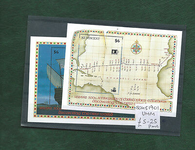 St Vincent 1992  set of 2 mint minisheets Discovery of America MNH
