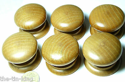 Quality Reproduction Set 6X Polished Wooden Chest/drawer/door Handle Knobs 45 Mm