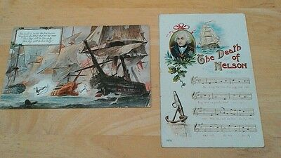 Two vintage  postcards, the death of Nelson and Trafalgar used with stamps, 1914
