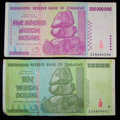 2 Zimbabwe banknotes-1 x 500 million & 10 trillion dollars -circulated currency