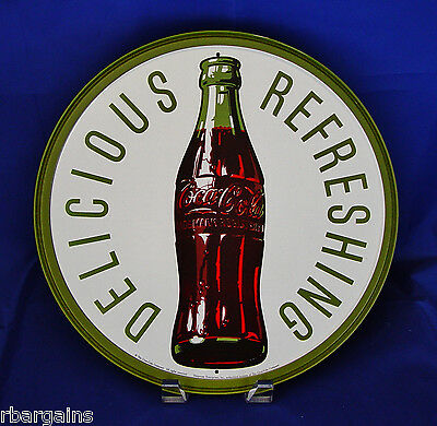 Coca-Cola Coke Delicious & Refreshing Vintage Style Metal Tin Round Sign Classic