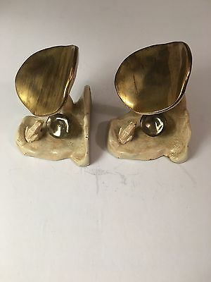 Frog & Toadstool Antique Bookends Sgned McCLELLAND BARClay