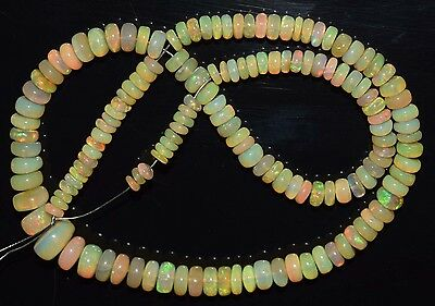"""14"""" Stunning Natural Ethiopian Welo Fire Opal Smooth Rondelle Beads EB1722"""