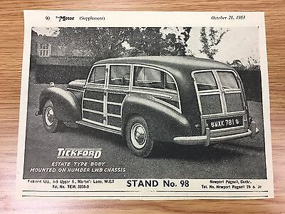 Very Rare 1953 TICKFORD Small Vintage B&W Car Advert L4