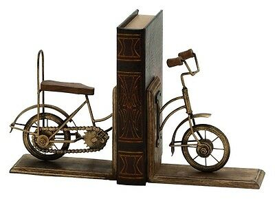 Cole & Grey Metal Wooden Cycle Book Ends Set of 2