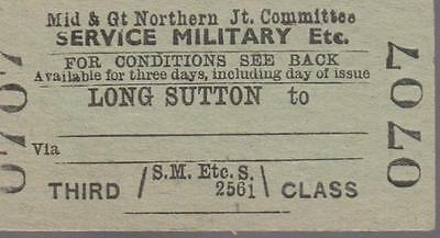 Midland & Great Northern JOINT Railway Ticket LONG SUTTON 0707