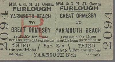 Midland & Great Northern JOINT Railway Ticket GREAT ORMESBY 2094