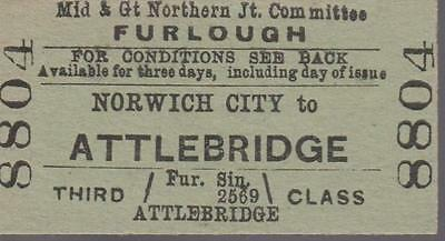 Midland & Great Northern JOINT Railway Ticket NORWICH CITY 8804