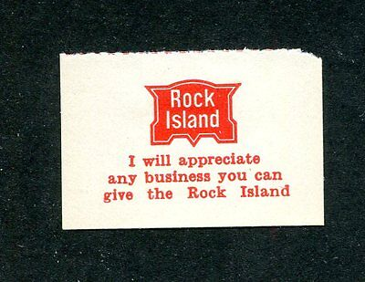 Vintage Poster Stamp Label ROCK ISLAND Railroad I appreciate any business