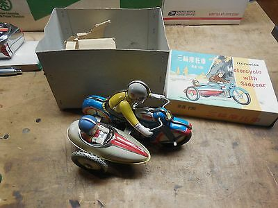 Clockwork Tin Motorcycle with Sidecar Made in China WITH BOX