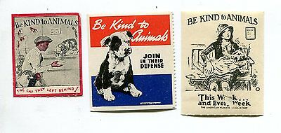 Vintage Poster Stamp Label set of 3 BE KIND TO ANIMALS dogs cats strays