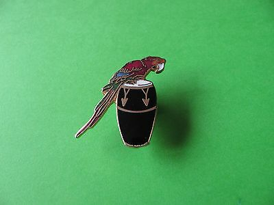 CONGA DRUM & Parrot pin badge, Enamel. VGC