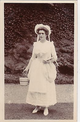 Original Vintage Real Photo Postcard. Young Lady In Fancy Dress, Unused. (2)