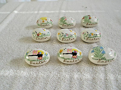 Lot 9 Vintage Hand Painted Ceramic Easter Eggs Bunnies Lambs Chick 1976