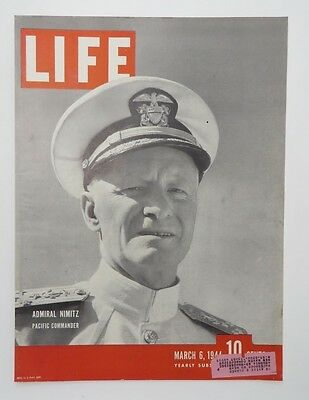 Original Life Magazine COVER ONLY March 6 1944 Admiral Nimitz