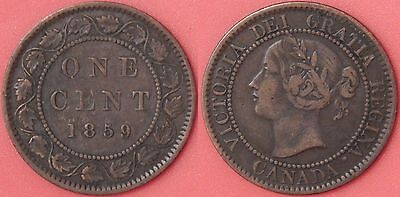 Very Fine 1859 Canada Low 9 Large 1 Cent