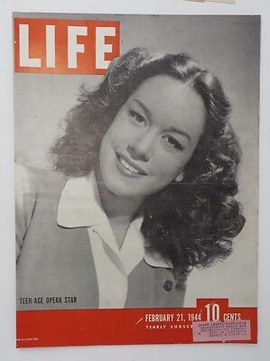 Original Life Magazine COVER ONLY February 21 1944 Teen-Age Opera Star