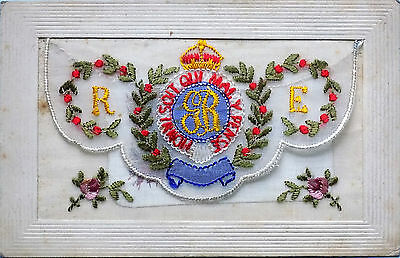 1914-18 World War One Embroidered Silk Post Card ~ Gr - Royal Engineers + Insert