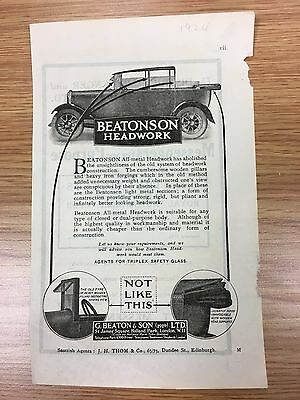 Rare 1924 BEATONSON & Son Small Vintage B&W Car Advert