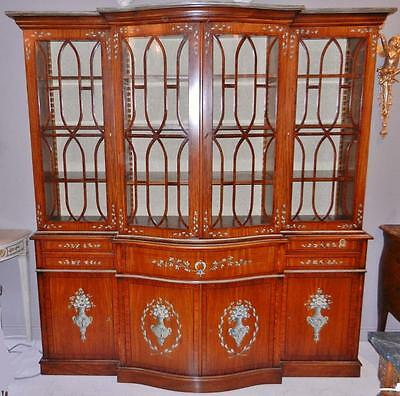 Beautiful Hand Painted Satinwood Breakfront Bookcase with Butler's Secretary
