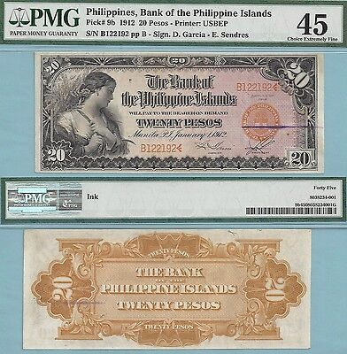 1912 Bank of the Philippine Islands 20 Pesos ~ Pick#9b ~ PMG XF45