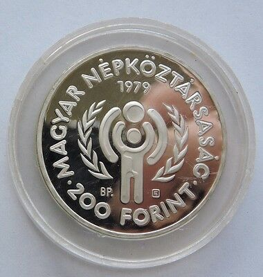 1979 Hungary 200 Forint Silver Proof International Year Of The Child With Coa