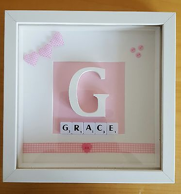 Personalised Initial Name Christening Frame Hearts Baby Girl Gift Birthday