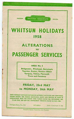 Br (W) Handbill  -  Whitsun  1958 Alterations (West Country)
