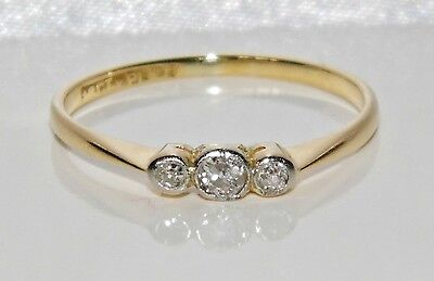 Art Deco 18ct Yellow Gold & Platinum Diamond 3 Stone Ring - size P